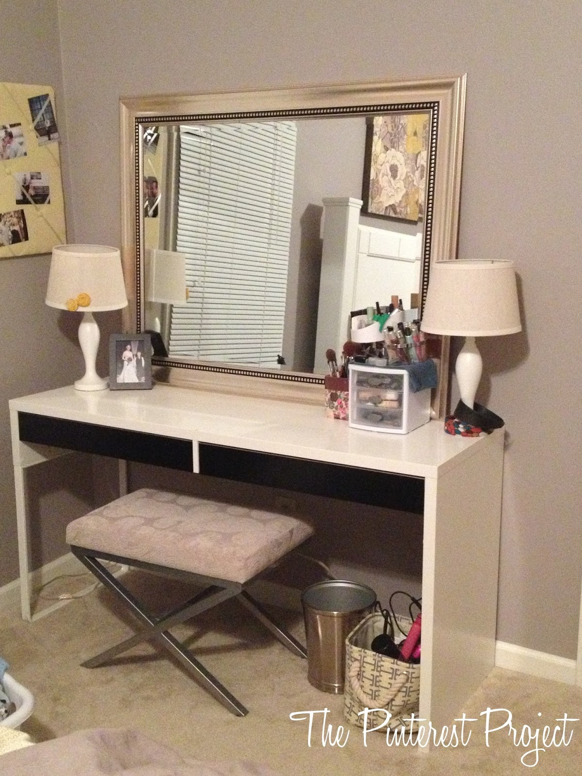 Ikea hack desk into vanity the pinterest project for Vanity tables ikea