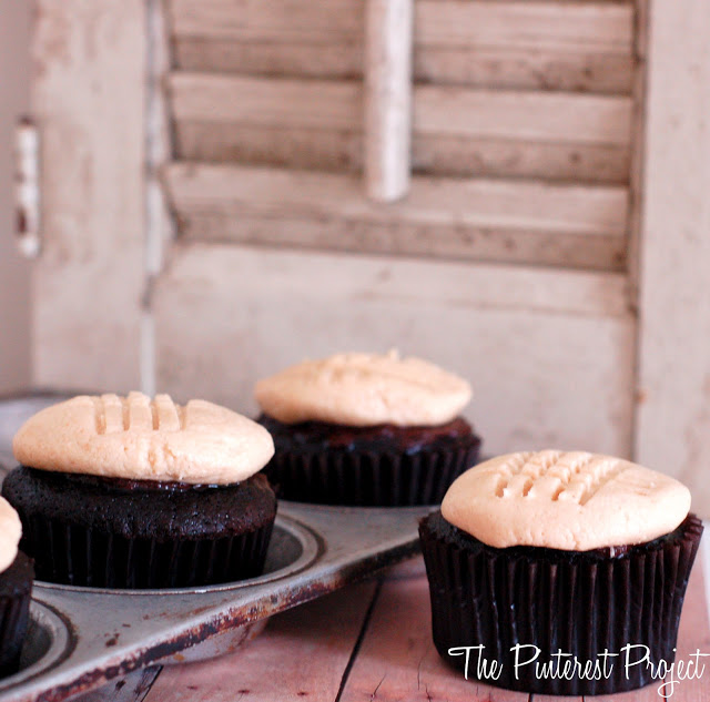 "... cupcake. Place a peanut butter ""cookie"" on top of each cupcake"